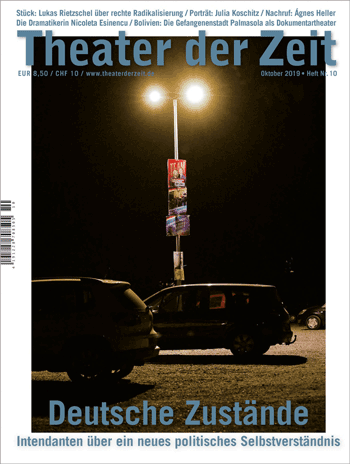 Cover Theater der Zeit Oktober 2019